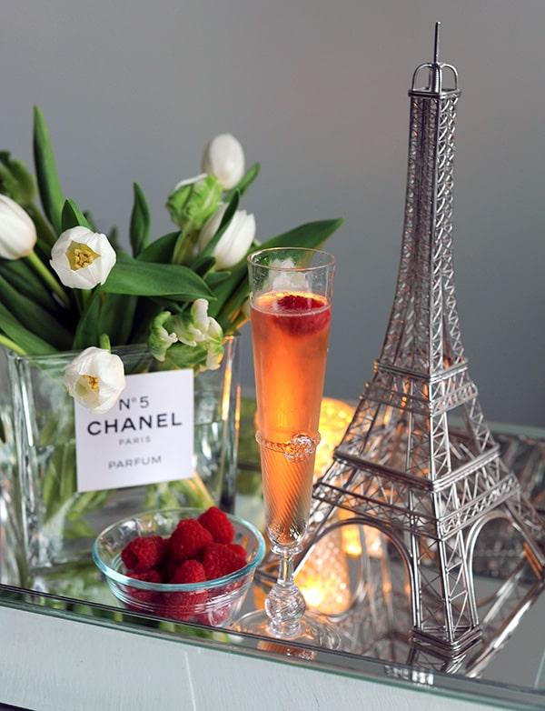 DIY Chanel bottle used as a flower vase